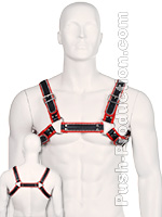 Bulldog Zipper Design Leder Harness - Schwarz/Rot