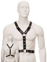 Black Leather Harness with Metal Spots